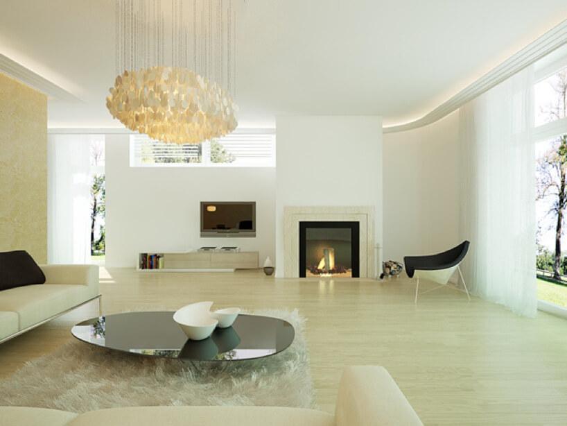 salon zjasną podłogą imeblami