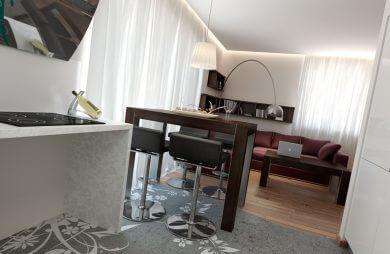 wnętrze salonu i kuchni od anny krzak
