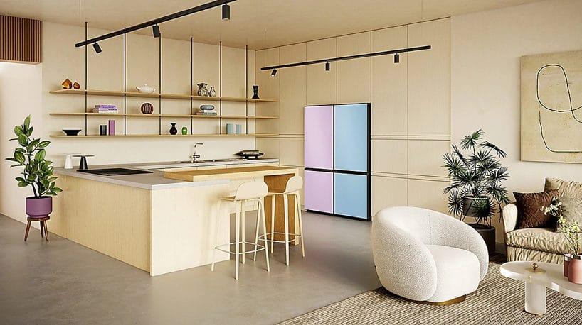 jasna kuchnia zkolorową lodówką Samsung
