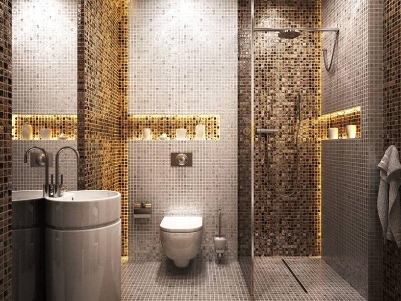 mozaikowa mała łazienka