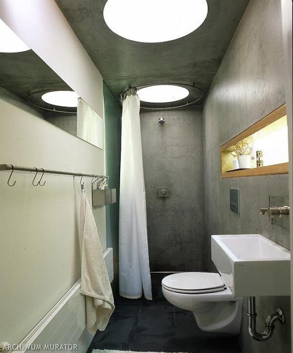 łazienka zbetonem na ścianach