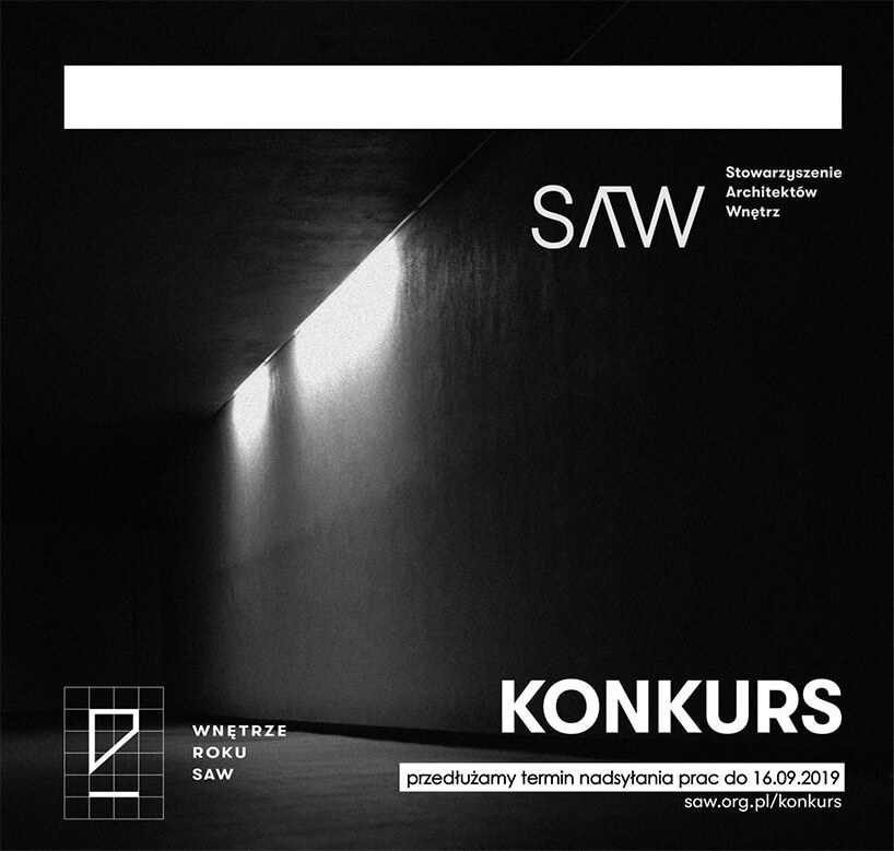 czarno-biały plakat Konkursu Wnętrze Roku SAW
