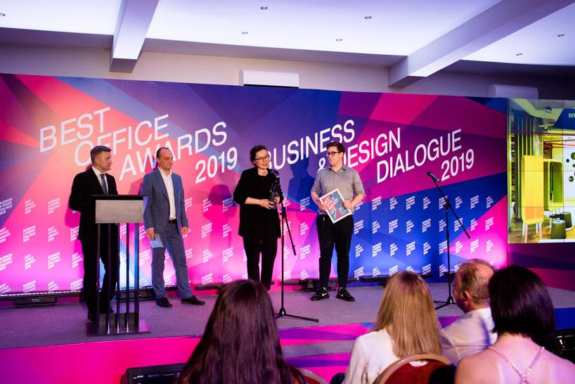 ceremonia wręczania nagrody Best Office Awards 2019 dla mode:lina Brain Embassy