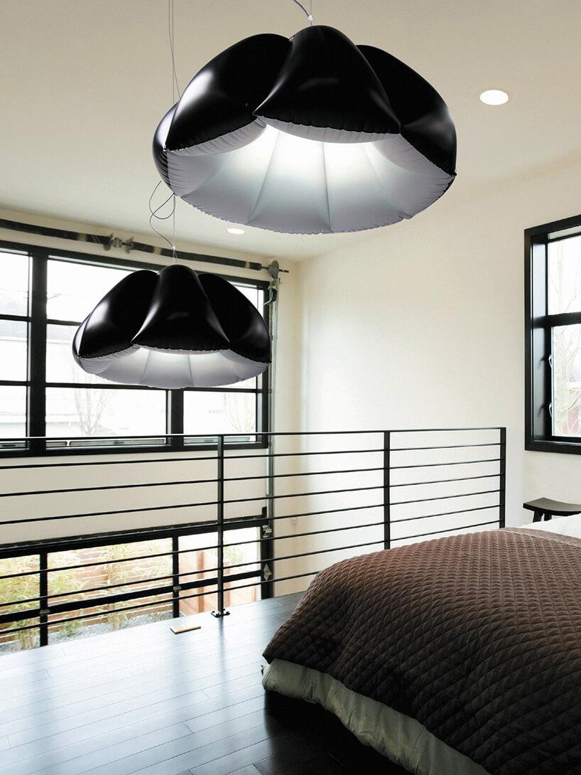 czarno-białe pufowe lampy wsypialni