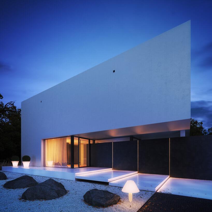 biały podświetlny budynek wkształcie prostokąta