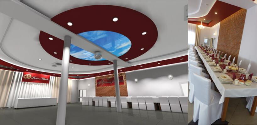sala bankietowa zdużym okrągłym niebieskim elementem