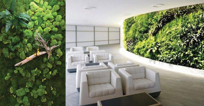 Ogrody wertykalne zzielonymi elementami na ścianach