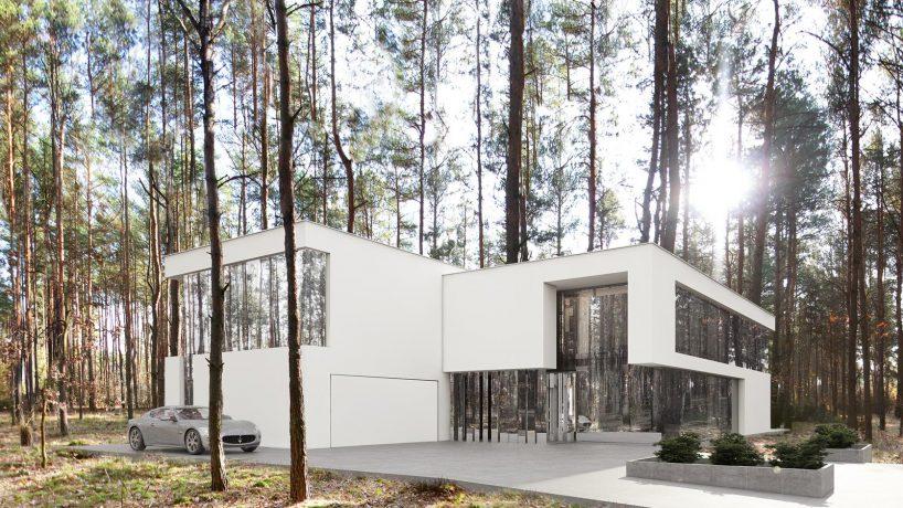 biała elewacja ze szkłem - lustrzane domy reform achitekt