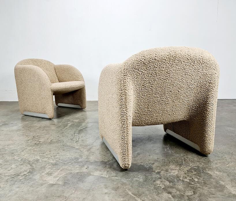 fotele wkolorze beżu zfakturą baranka
