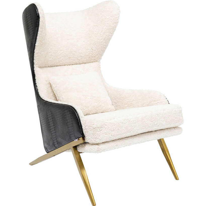 luksusowy fotel zjasnym środkiem oraz ciemno szarym zewnętrzem