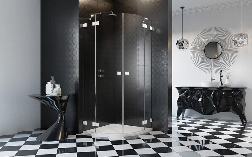 biało czarne kafle podłogowe na wysoki połysk zczarnym wypełnieniem kabiny prysznicowej