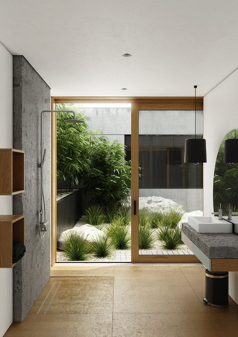 łazienka wkolorach brązu idrewna oraz otwieranym dużym oknem