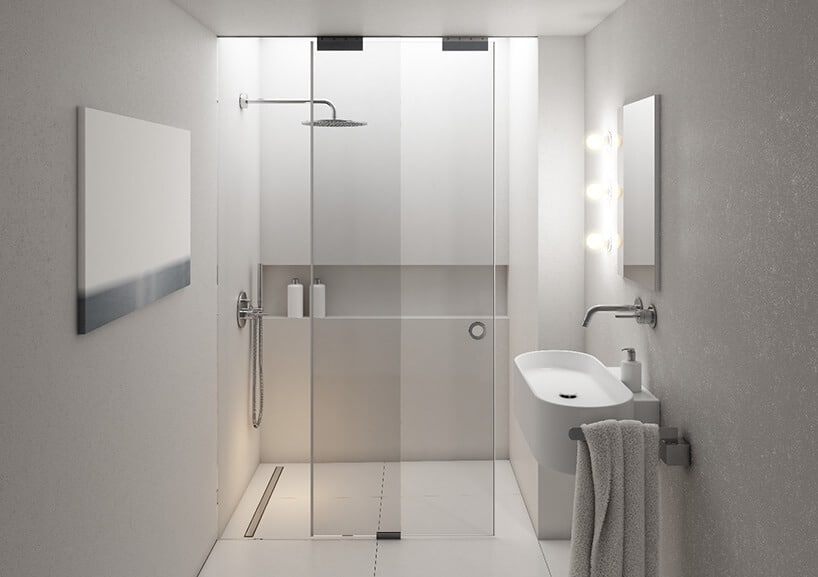 minimalistyczna mała łazienka wjasnych szarościach ibeżach