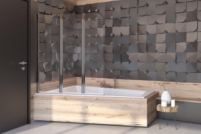 łazienka zwanną wpłytkach drewnianych iparawanem nawannowym besco