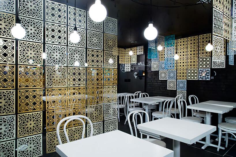 wyjątkowe czarne wnętrze restauracji zbiałymi stolikami ikrzesłami pomiędzy plastikowymi płytkami wwzory