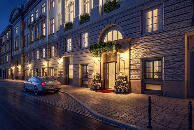 projekt wejścia zrewitalizowanej kamienicy whotel Angel Stradom Kraków nocą