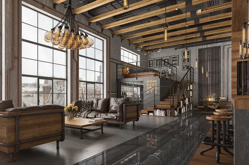 szare loftowe industrialne wnętrze zwysokimi oknami belkami drewnianymi pod sufitem iantresolą na łóżko