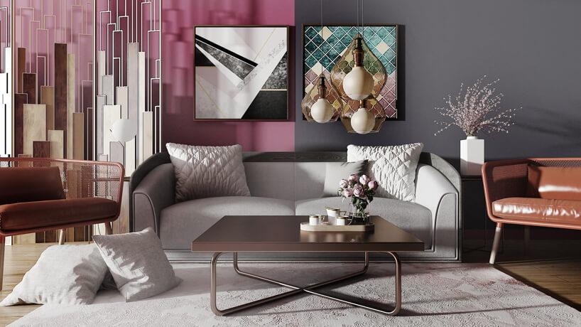 salon zpodzieloną dwu kolorową ścianą różówą iszarą jako tło dla jasno szarej sofy za brązowy niskim stolikiem
