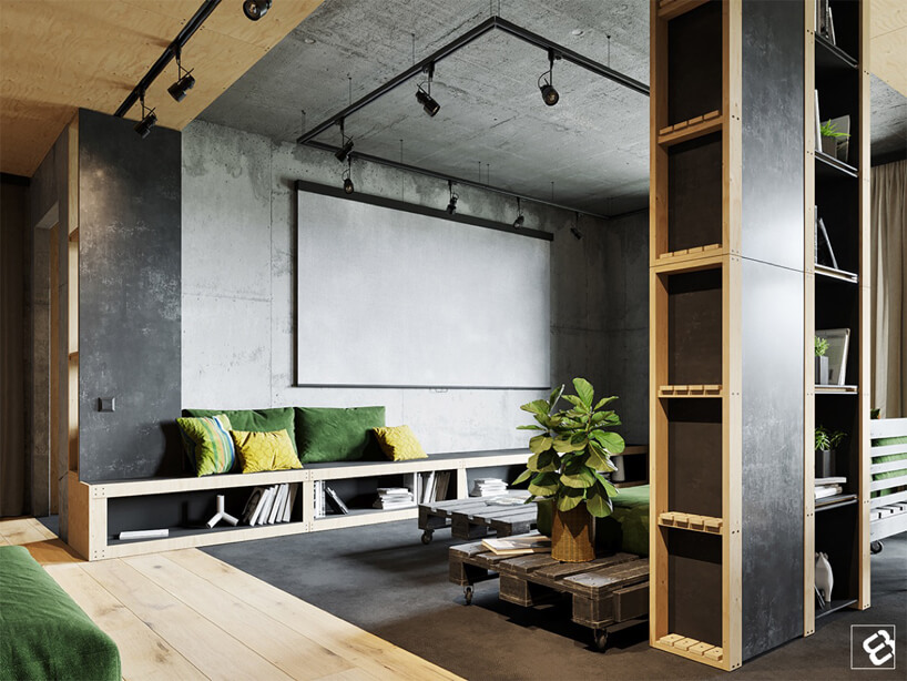 szare betonowe wnętrze salony na ścianach isuficie wykończone drewnianymi surowymi elementami