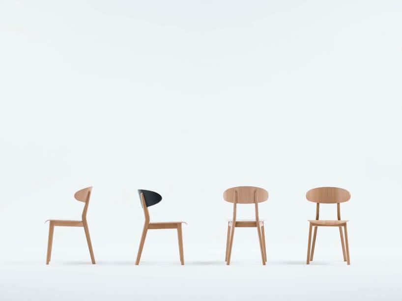 cztery drewniane krzesła pokazujące wygląd zkażdej strony