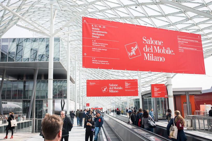 czerwony baner znapisem Salone del Mobile.Milano 2019