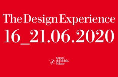czerwony plakat Salone del Mobile.Milano 2020