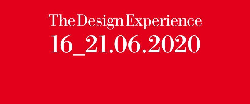 czerwony plakat Salone del Mobile.Milano 2020 znową datą