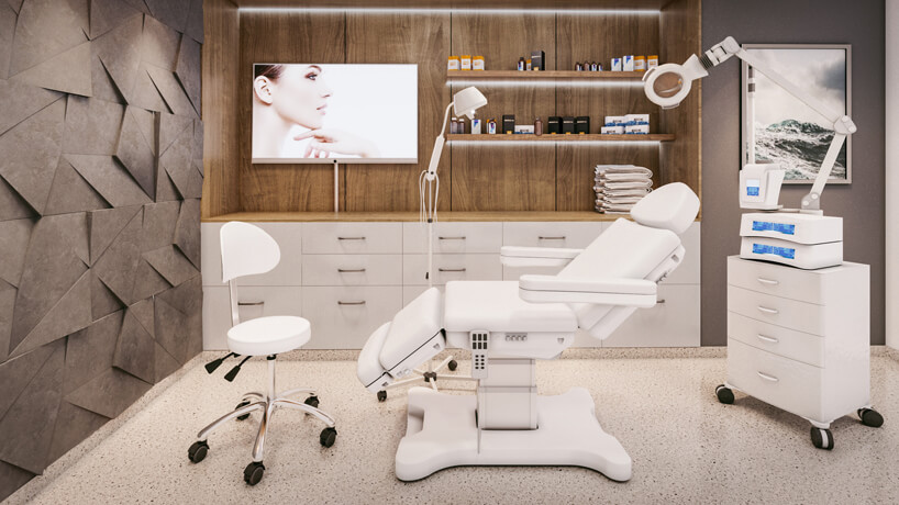 nowoczesny gabinet kosmetyczny wbieli idrewnie ibrązową ściana 3D