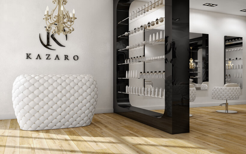 biało-czarny projekt salonu kosmetycznego zdrewnianą podłogą
