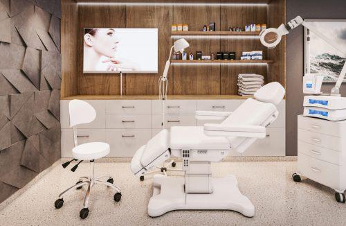 nowoczesny gabinet kosmetyczny w bieli i drewnie