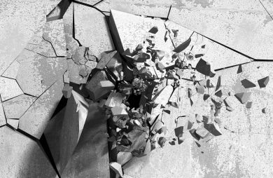 wizualizacja pękającego betonu