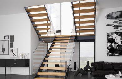 nowoczesne schody wewnętrzne ze szklanymi balustradami