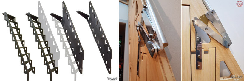 metalowy mechanizm drewnianych składanych schodów