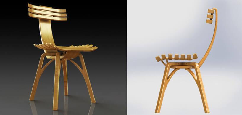 drewniane krzesła zwymyślnymi oparciami