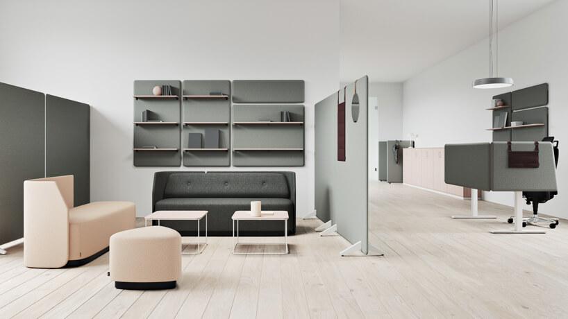 nowoczesna aranżacja biura ze ściankami akustycznymi Vibe od Kinnarps