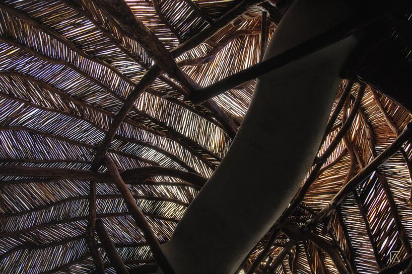 częściowo przeźroczysty drewniany dach wsparty drewnianymi elementami