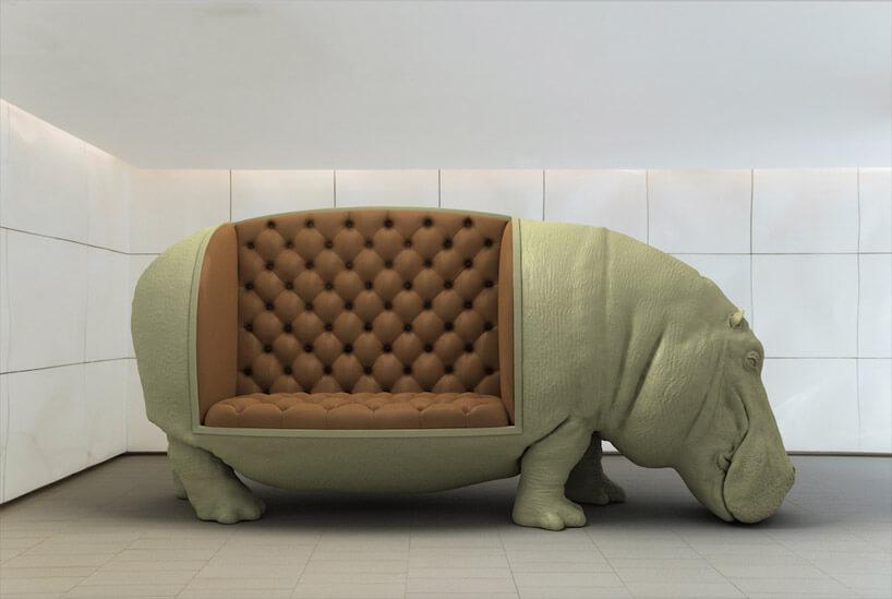 siedzisko wkształcie hipopotama wzielonym kolorze
