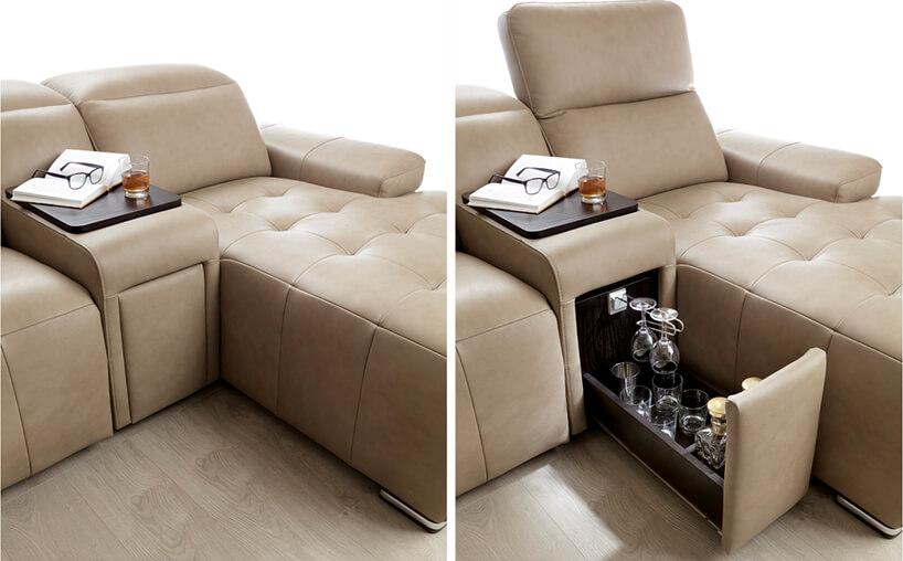 jasno brązowa skórzana sofa modułowa Gala Collezione zbarkiem wwysuwanej szufladzie