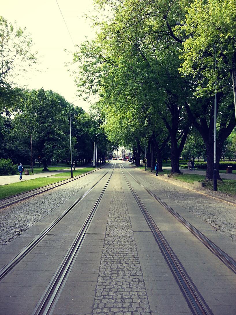 widok na ulicę Zgierską wkierunku południowym