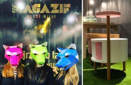 trzy osoby w kolorowych maskach wilków