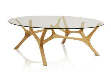 stół jak poroże ze szklanym blatem
