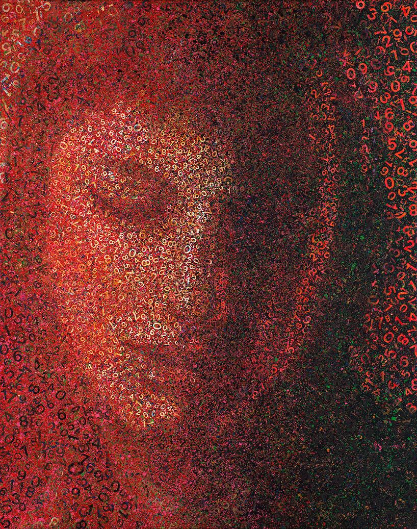czerwono-czarny obraz kobiecej twarzy