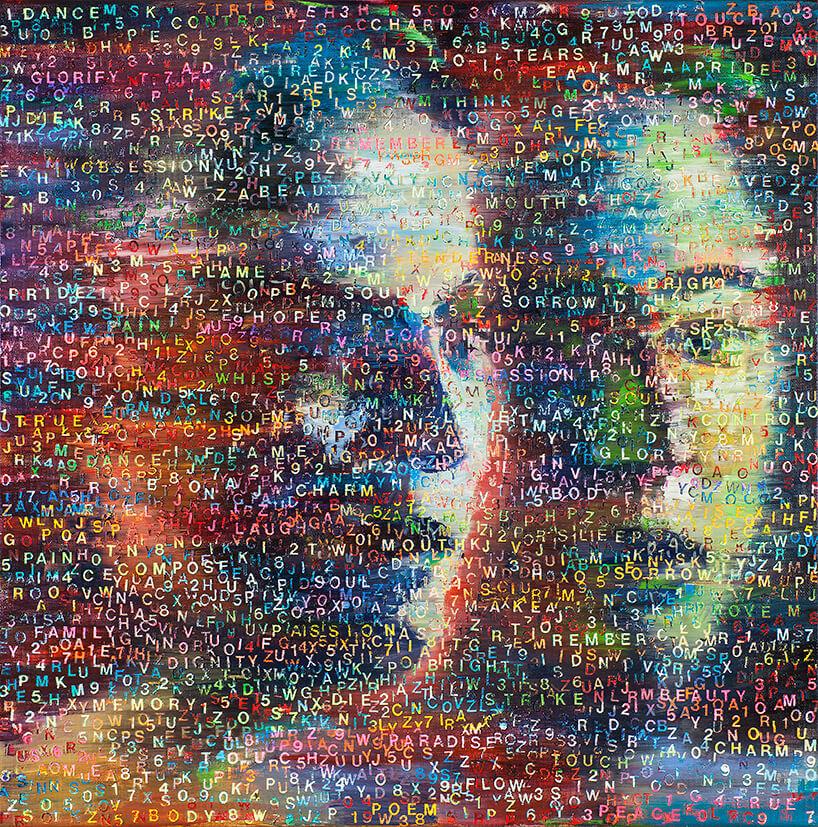 wielobarwne rozmyte dwie twarze na obrazie