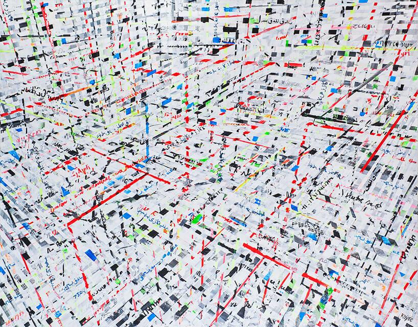 obraz przestrzenny zkolorowych linii