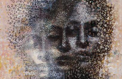 trzy czarne twarze otoczone cyframi