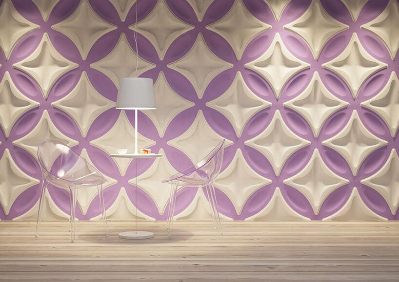 biało-fioletowe panele przestrzenne