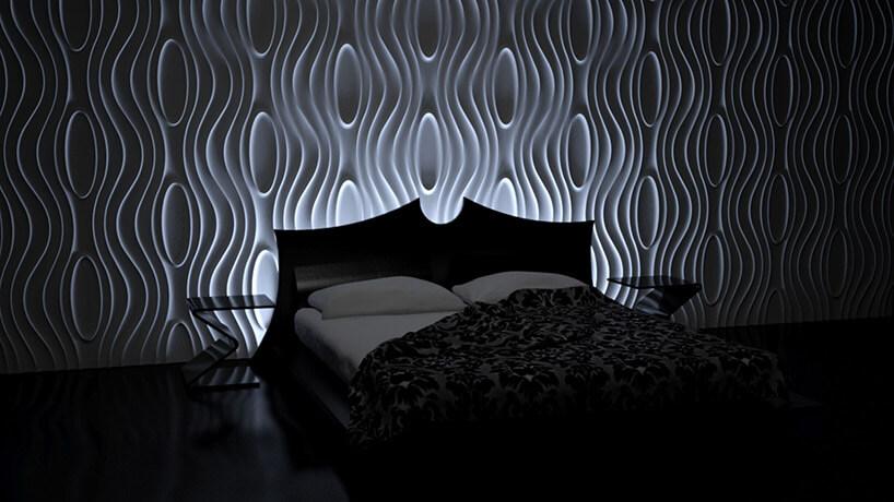 lekko oświetlone panele przestrzenne wsypialni