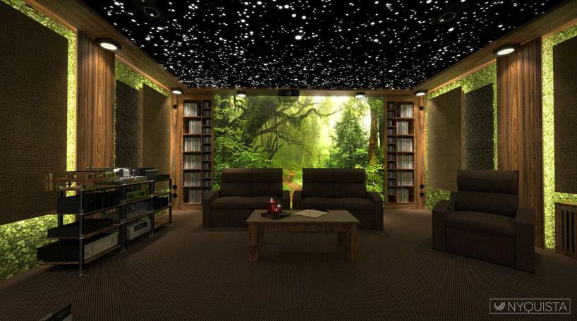 salon zleśnymi elementami izielonym podświetlenie