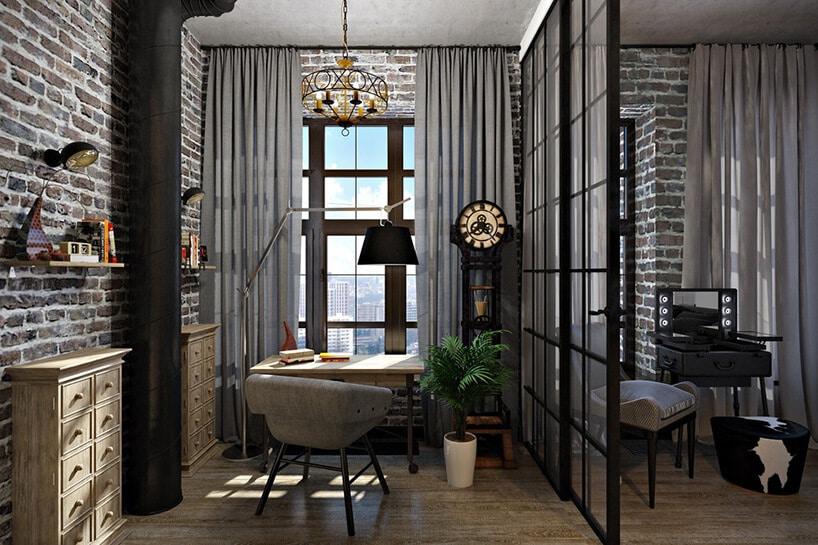 długie szare zasłony wszarym pomieszczeniu zścianką ze szkła
