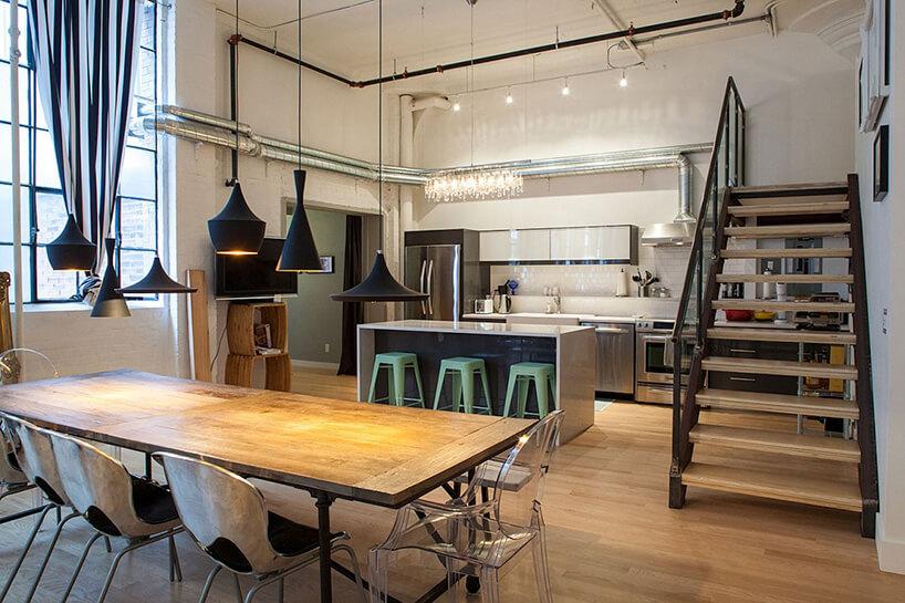 styl industrialny loft drewniane meble wkuchni ijadalni